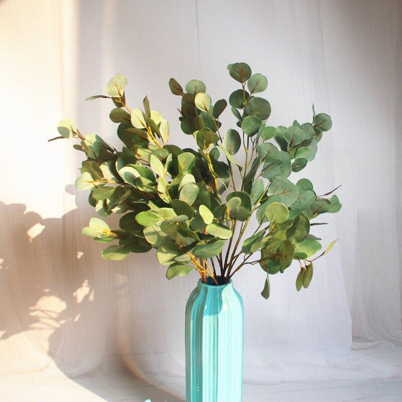 INDIGO- 5pcs Blue Eucalyptus Leaf Grass Long Size Wall Decoration Artificial Plant Wedding Flower Party Free Shipping