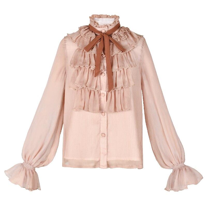 Nueva S Y Tops Manga Envío Moda Otoño 2019 Linterna Mujer Rosa Blanco Para Largo Gratis Volantes Boshow Camisas l Primavera Blusas tqwwTS