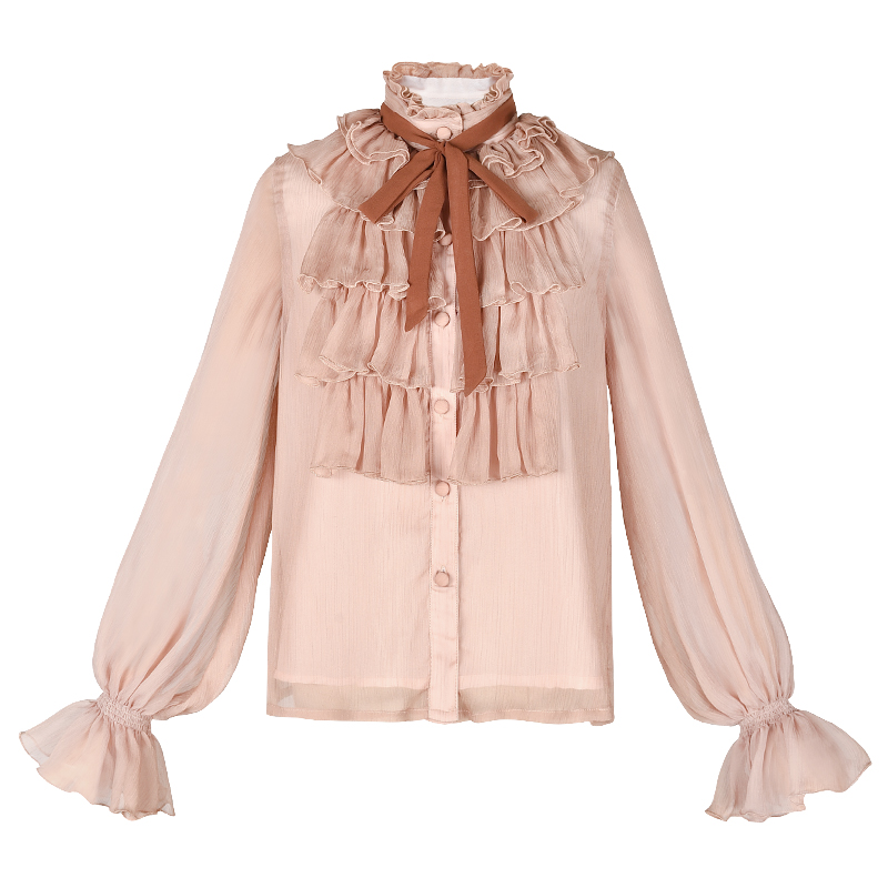 Free Shipping Boshow 2019 New Fashion Pink And White Shirts For Women Long Lantern Sleeve Ruffles Blouses Tops S L Spring Autumn in Blouses amp Shirts from Women 39 s Clothing