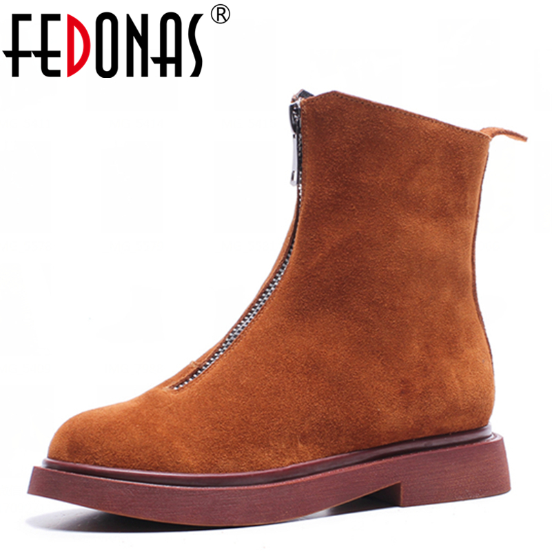 FEDONAS Fashion High Heel Zipper Ankle Snow Boots Suede Genuine Leather Martin Boots Winter Women Motorcycle Shoes Woman fedonas top quality winter ankle boots women platform high heels genuine leather shoes woman warm plush snow motorcycle boots
