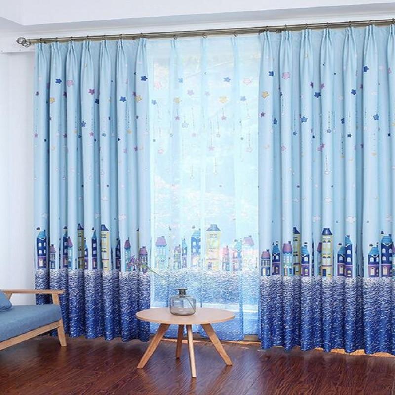 mediterrane kasteel stijl leuke kinderkamer drijvende windows ster jongens gordijnen slaapkamer groene afdrukken schaduw blauw gordijn ws034 15 in