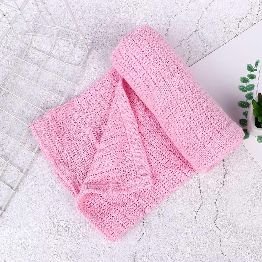 1 stücke Einfarbig Weiche Baumwolle Häkeln Neugeborenen Babys Decke Prop Krippe Lässige Schlafen Bett Liefert Loch Wrap