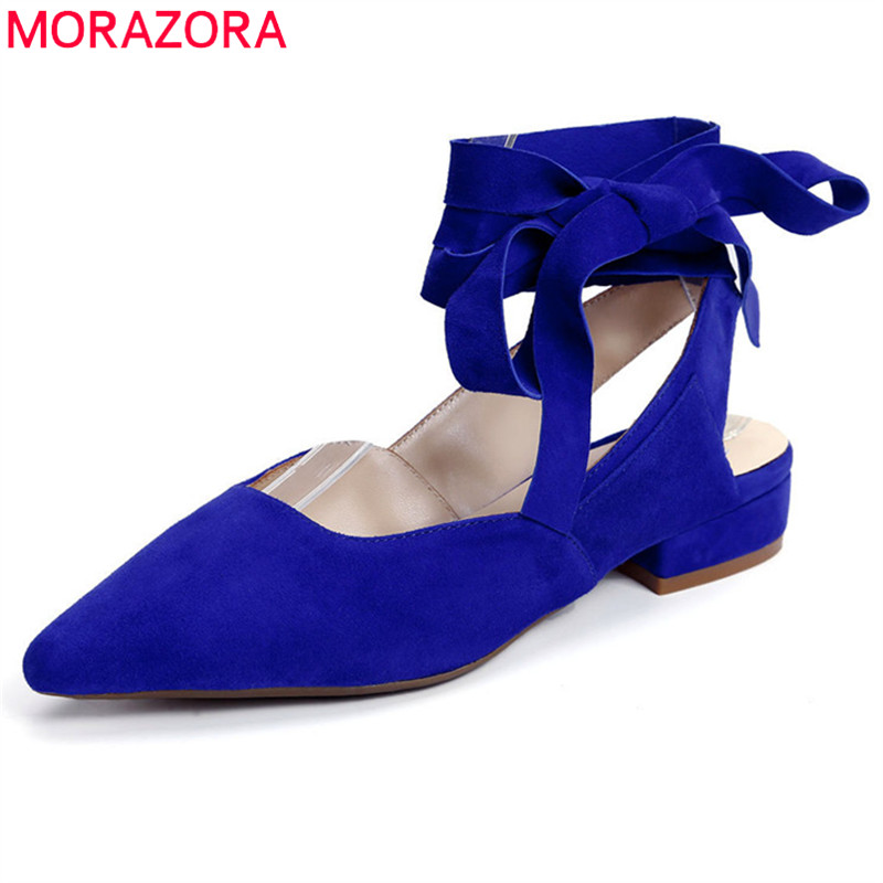 MORAZORA 2019 new arrival   suede     leather   shoes woman pointed toe casual shoes ladies summer simple ballet flat shoes women red