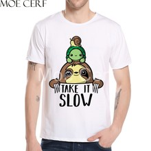 2019 Funny Animal Take It Slow Letter Design T Shirt Fashion 3D Print Sloth T Shirt Men Summer Harajuku Hipster Cool Tee L11-30(China)