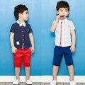 [Bosudhsou] детская Одежда Детские Мальчиков Короткие Одежды Костюмы Установить Детский Джентльмен Летняя Рубашка футболка + Брюки Устанавливает Бантом Костюм М-3
