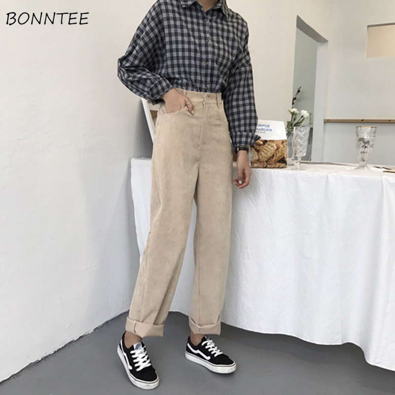 Pants Women Korean Style Corduroy High Quality Soft Ladies Wide Leg Trousers Trendy Leisure Womens Harajuku Student All-match