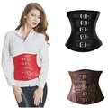 3 Cores Plus Size Sexy Steampunk Clássico Buckle Faux Leather Underbust Corset Lace Up Espartilhos E Bustiers Espartilho S-XXL