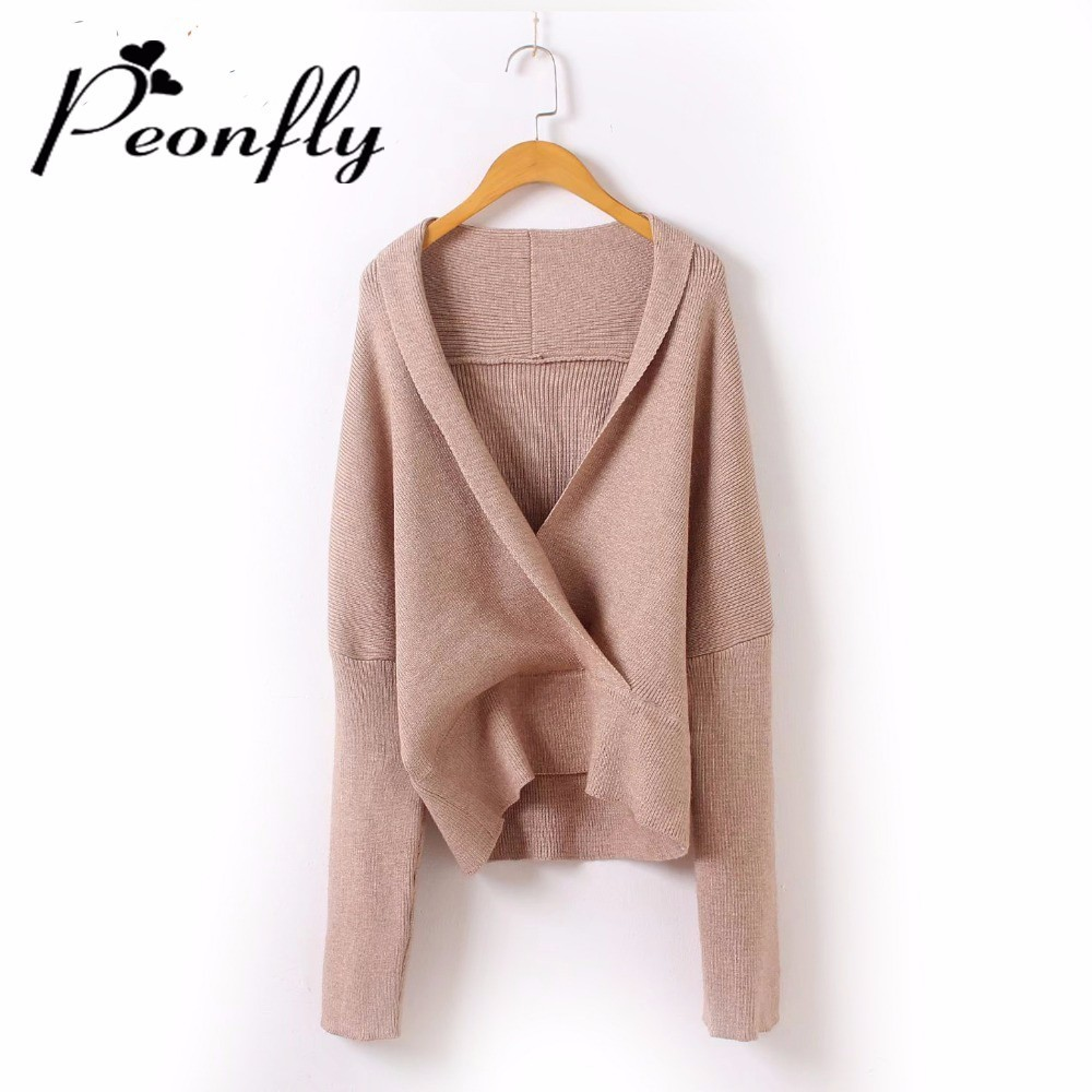 PEONFLY 2018 Women Sweater and Pullovers Deep V Neck European Fashion Knitted Jumpers Loose Sweater Pull sueter mujer ...