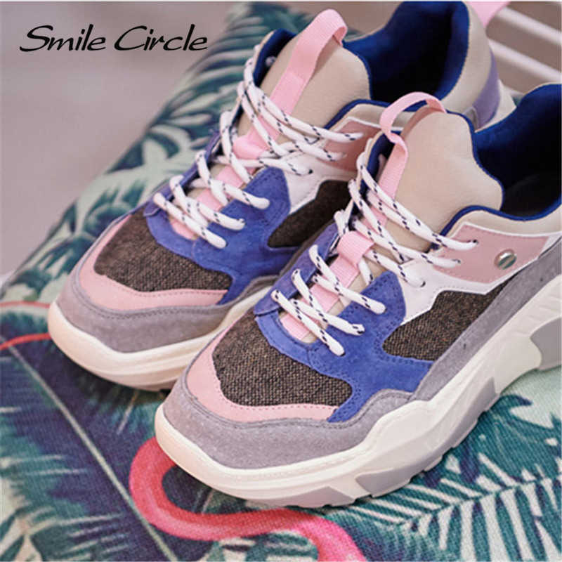 3145f21e5052 ... Smile Circle Women Chunky Sneaker Suede leather Lace-up Thick bottom  Flat Platform Shoes For ...
