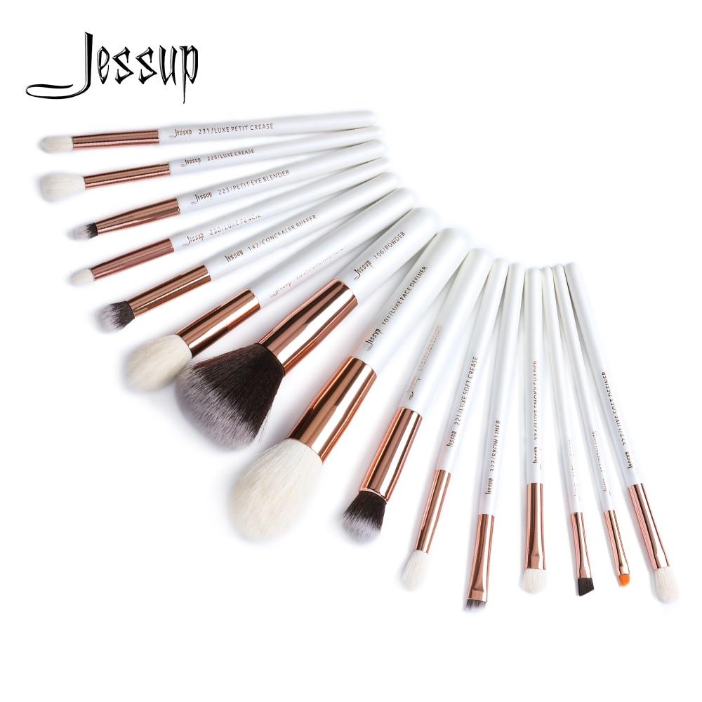 Jessup brushes 15pcs Pearl White/Rose Gold Professional Makeup Brushes Set Makeup Brush Tools kit Foundation Powder T222 jessup 15pcs makeup brushes powder