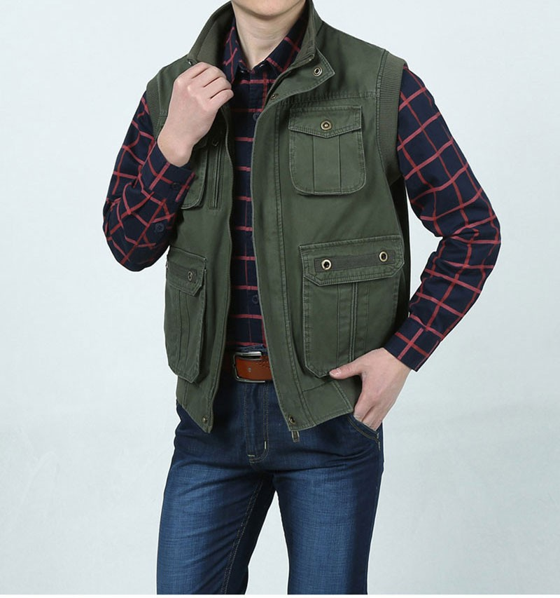 L~7XL 2016 Autumn Spring Brand Clothing Cargo Outdoor Vest Overcoats Men Casual Cotton New Plus Size Sleeveless Jackets Vests (4)