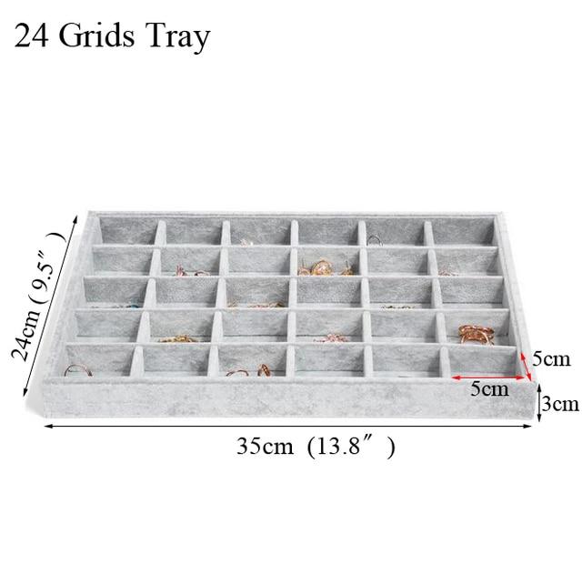 Fashion Ice Grey Velvet Jewelry Tray Jewelllery Storage Box Watch Holder 2