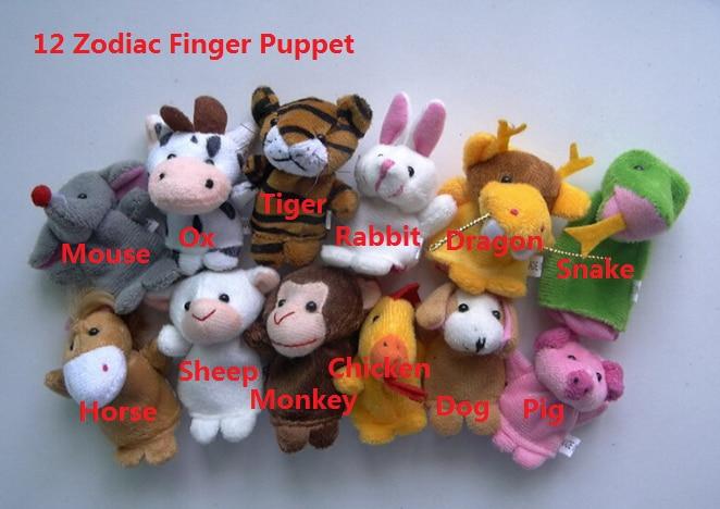 12pcs/lot 2017 Fashion style children favourite cartoon Twelve zodiac animal hand puppet 12 zodiac plush toys 091