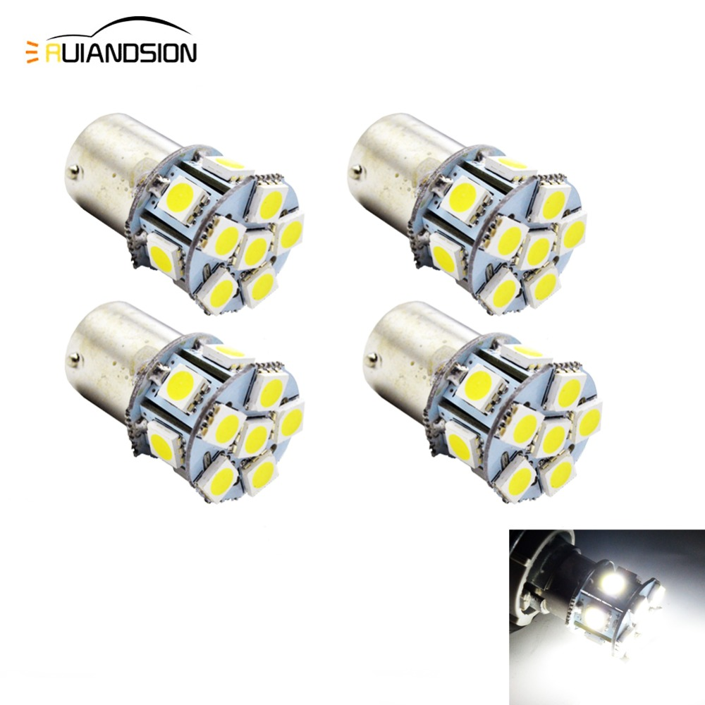 4pcs Super Bright White 5050 LED <font><b>12</b></font> <font><b>SMD</b></font> DC 6V 12V 24V 1156 BA15S BAU15S led light Turn LED S25 P21W Backup Reverse Light Bulb image