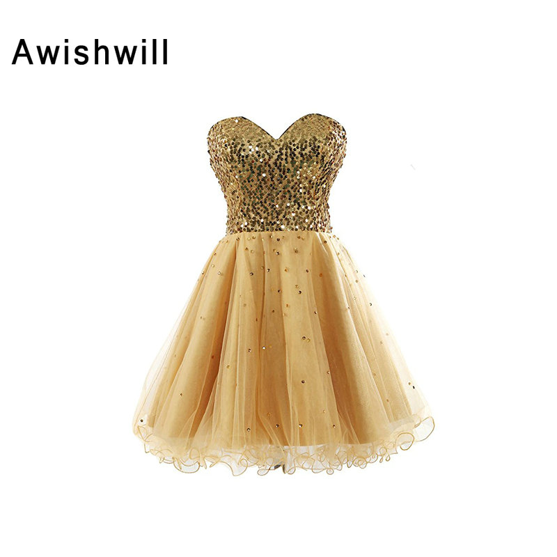 Real Picture Lace-up Back Plus Size Custom Made Sequins Top Tulle Short Mini Homecoming   Dress   Girl Gold   Cocktail     Dress