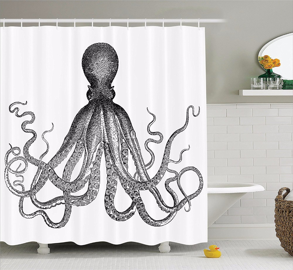 Kraken shower curtain - High Quality Arts Shower Curtains Octopus Black White Claws Bathroom Decorative Modern Waterproof Shower Curtains