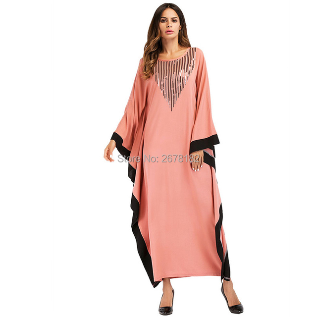 4419ca81a5 US $16.22 44% OFF Orange Bat Sleeve Islamic Clothes Abaya Clothing Turkish  Islamic Clothing Muslim Women Dress Big Batwing Sleeve Solid Color-in India  ...