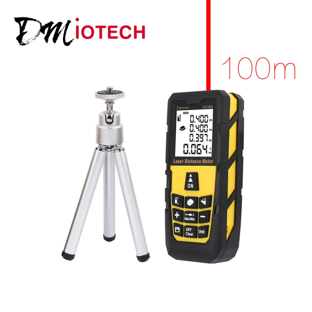 DMiotech 328ft 100M Digital Laser Distance Meter Measure Rangefinder Yellow w Tripod  dmiotech 262ft 80m mini handheld digital laser distance meter rangefinder red with tripod