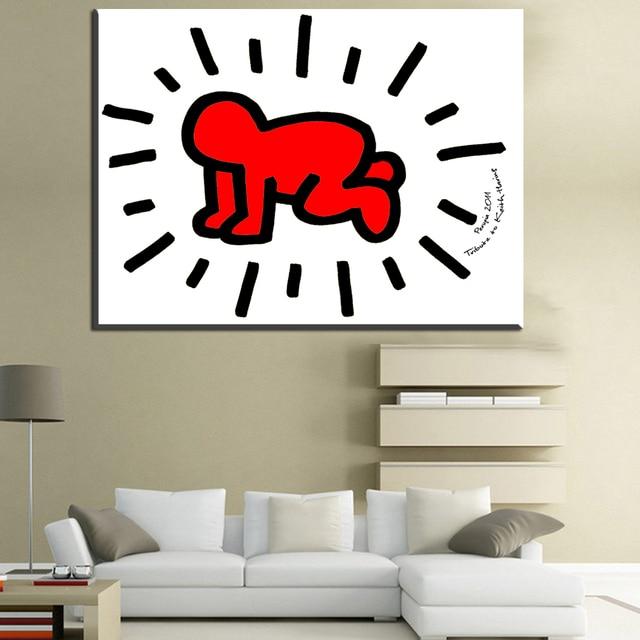 Nice ZZ1434 Einfache Leinwand Kunst Kleine Baby Keith Haring Leinwand .