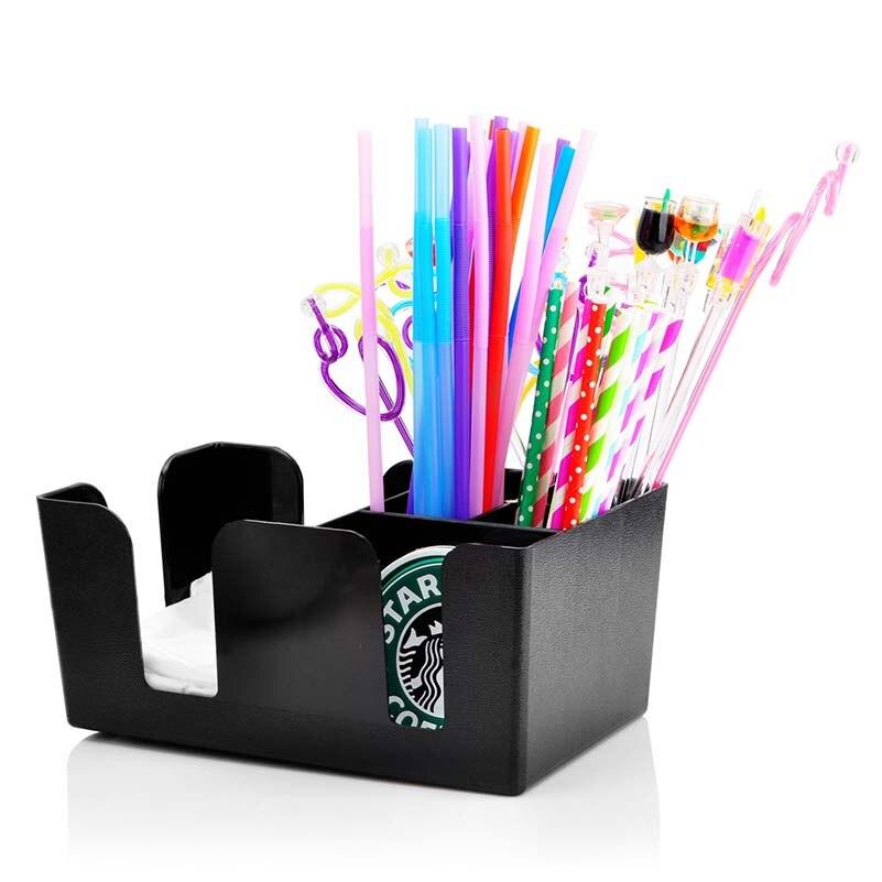 Doski Black Commerical Plastic Bar Caddy Organizer Black with 6 ...