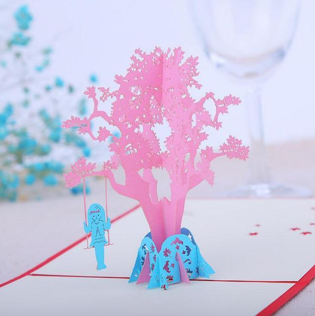 10 Stücke 3D Kreative Mädchen Spielen Schaukel Skura Baum Handmade Kirigami  Origami Hochzeit Einladungskarten Greeding Geburtstag