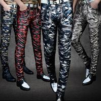 Winter personality fashion motorcycle leather pants mens camouflage trousers faux leather pants for men pantalon homme punk