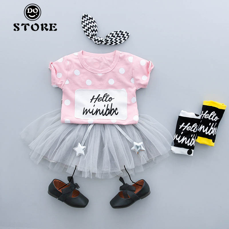 Baby Girls Clothes New Girls Suits Newborn Summer Casual Cute Style Dot Pattern Children Clothing Set Star Skirt Kids Clothes