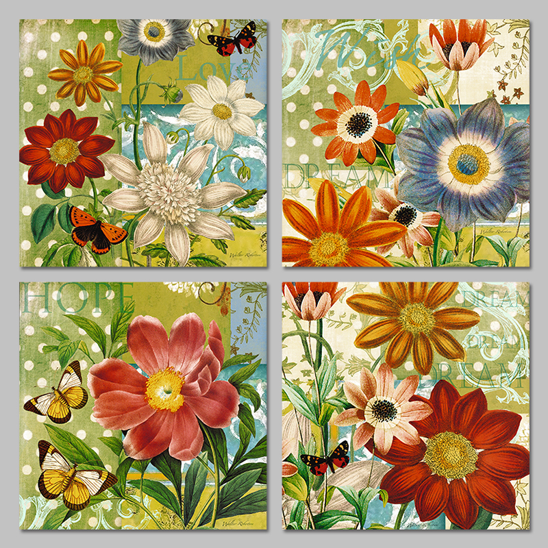 4 Pieces Animals Butterfly Red Gold Sunflowers Decoration Wall Art ...