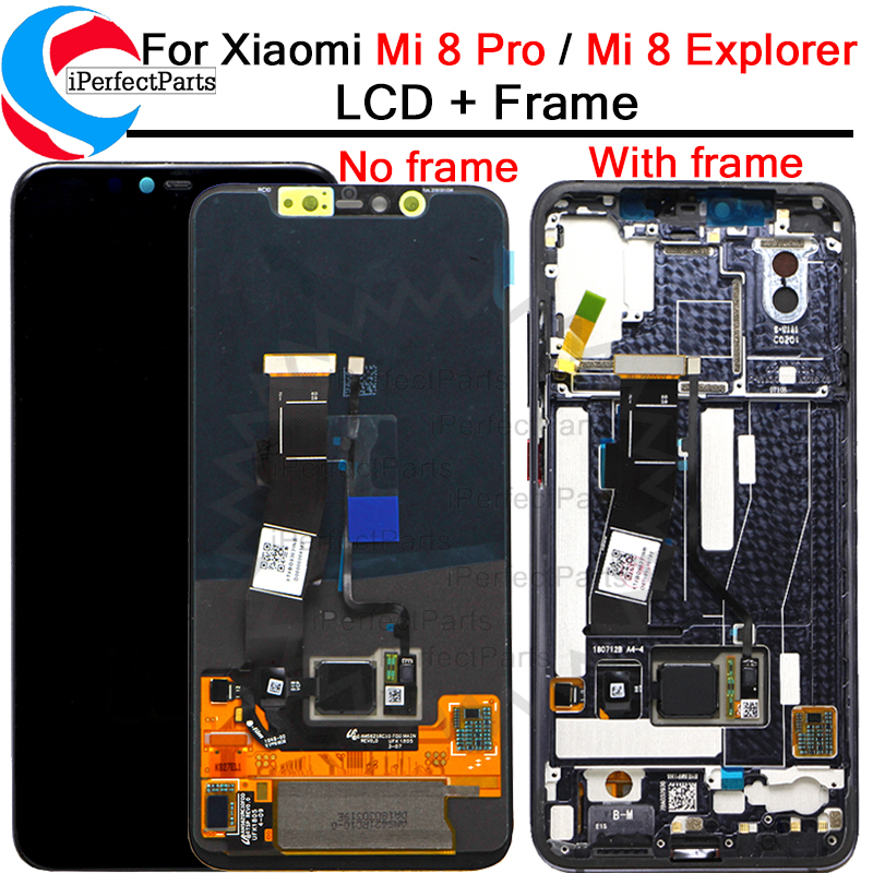6 21 For Xiaomi Mi 8 Pro LCD Display Touch Screen Digitizer with frame Assembly Replacement