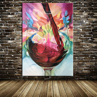 100%Hand Painted Abstract Modern Oil Painting On Canvas Grape Red Wine Picture Wall Decoration For Dining Room Wall Decor Art