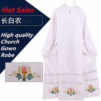 Vatican Cathedral Catholic Robe White Church Clergy Vestments Father Priest Chasuble Clerical Catholic Alb Robe Church