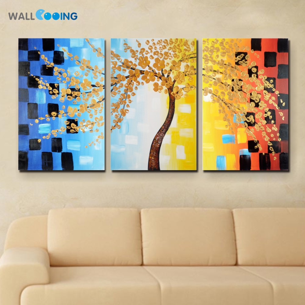 ⃝wall cooing 100% hand-painted 3 panel canvas painting fortune tree ...