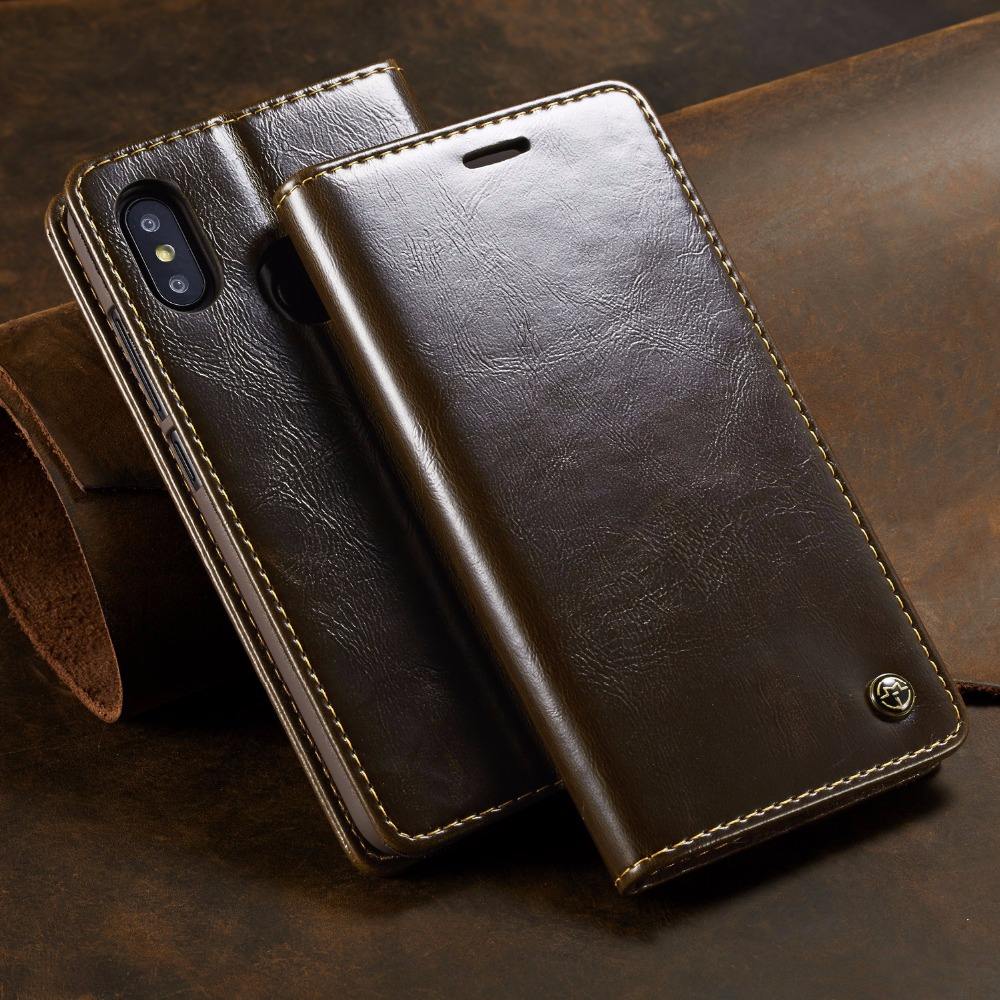 Case For Xiaomi Redmi 6 Pro Flip Leather Wallet Case Card Holder Phone Coque Black For