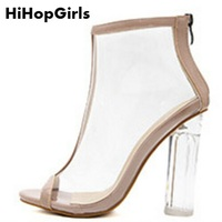 68aa6b173 HiHopGirls New Hot Roman Women Pumps Zipper High Heels Summer PVC  Transparent Crystal Sandals Solid Color