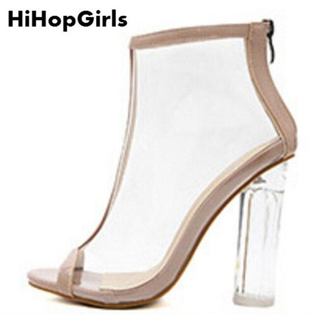 0b1786dcb HiHopGirls New Hot Roman Sandálias de Cristal Das Mulheres Bombas Salto  Alto Com Zíper PVC Transparente Verão Cor Sólida Mulher Festa Sapatos