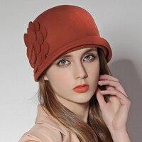 Sedancasesa Female Cloche Hat Winter Australia Wool Vintage French Bowler Sombrero Hats Fedora Wool Hat For Women FW132002