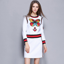 2016 New autumn winter high street OL Long-sleeved Women Suit fashion embroidery short T shirt top and mini skirt 2pcs set Q2309
