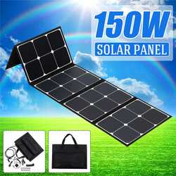 لوحة طاقة شمسية قابلة للطي 150 واط 12 فولت لوحة طاقة شمسية مرنة USB مزدوجة المحمولة مجموعة الخلايا الشمسية للقوارب/خارج الباب التخييم/سيارة/rv/اله...