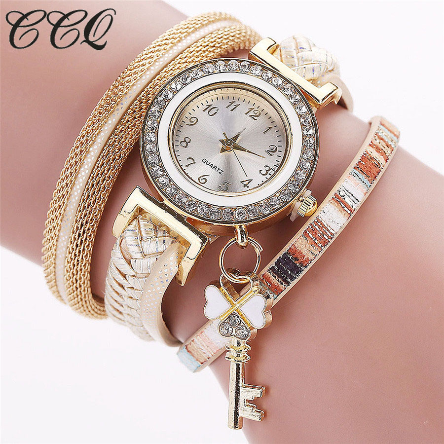 CCQ Fashion Luxury Leather Bracelet Watch Casual Women Crystal Key Pendant Watch Clock Gift Drop Shipping Relogio Feminino 2027 cute colored beads key pendant design bracelet for women