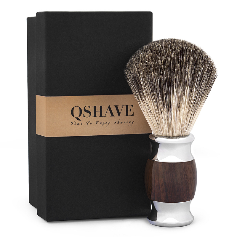 Qshave Man Pure Badger Hair Shaving Brush Wood 100% for Razor Safety Straight Classic Safety Razor 11.5cm x 5.6cm Wood Grain mens badger shaving brush stand razor holder and double head safety straight razor