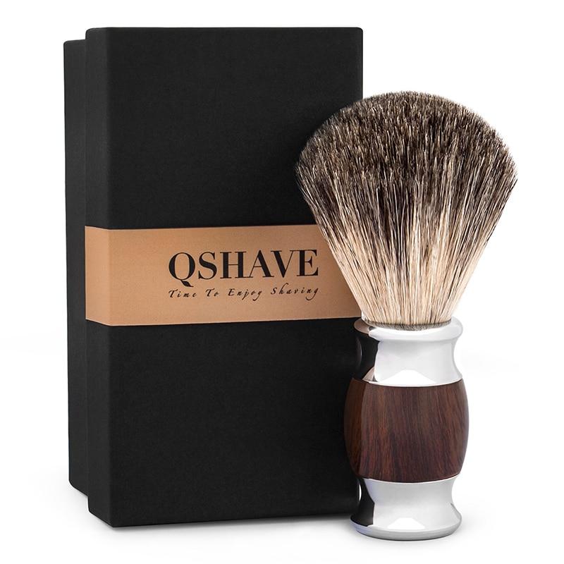 Qshave Man Pure Badger Hair Shaving Brush Wood 100% For Razor Safety Straight Classic Safety Razor 11.5cm X 5.6cm Wood Grain