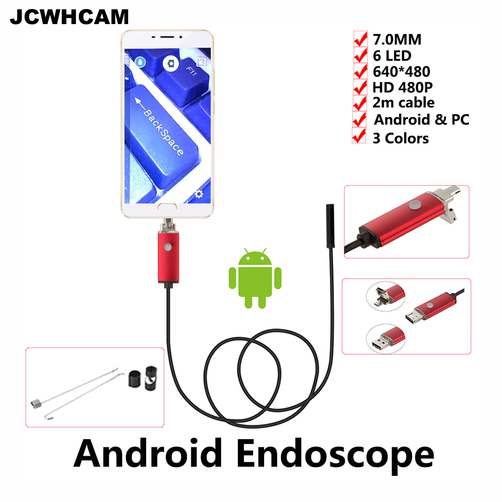 JCWHCAM 7mm Len Micro USB Endoscope Android Camera 2M IP67 Waterproof Inspection Flexibl ...