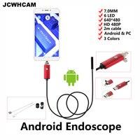JCWHCAM 7mm Len Micro USB Endoscoop Android Camera 2 M IP67 Waterdicht Inspectie Flexibele Snake Buis Android Borescope Camer