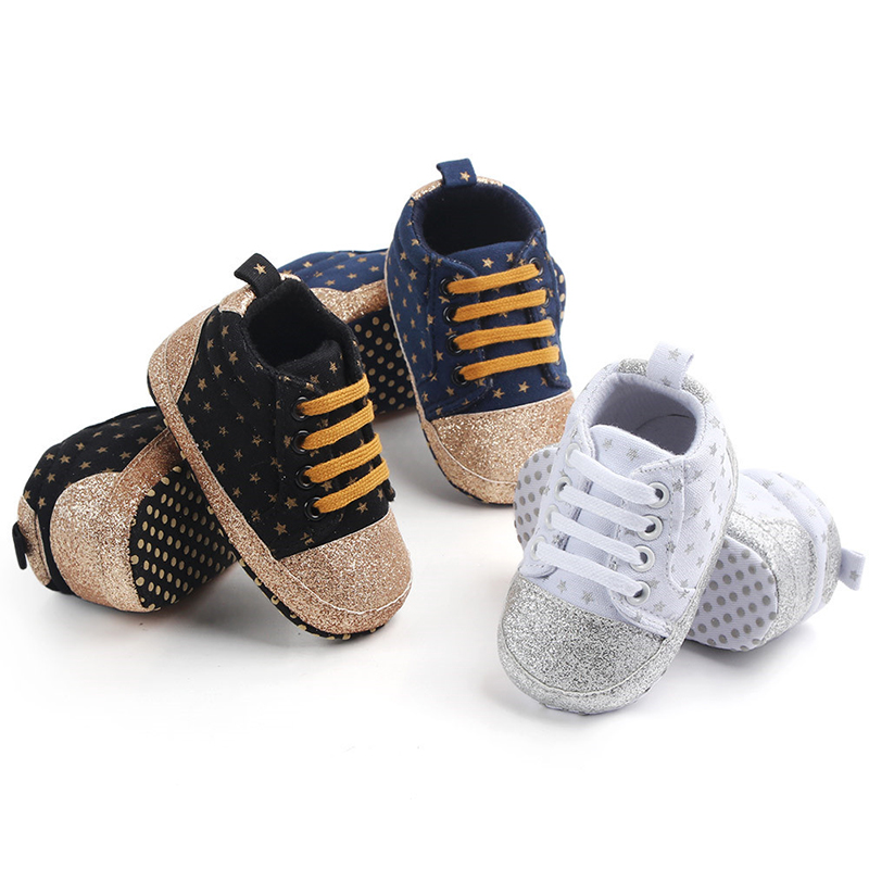 Shoes For Girls Shoes Sneakers Footwear For Newborns Shining Star Print Sneaker Spring Anti-slip Soft Sole Baby Girls Boys Shoes