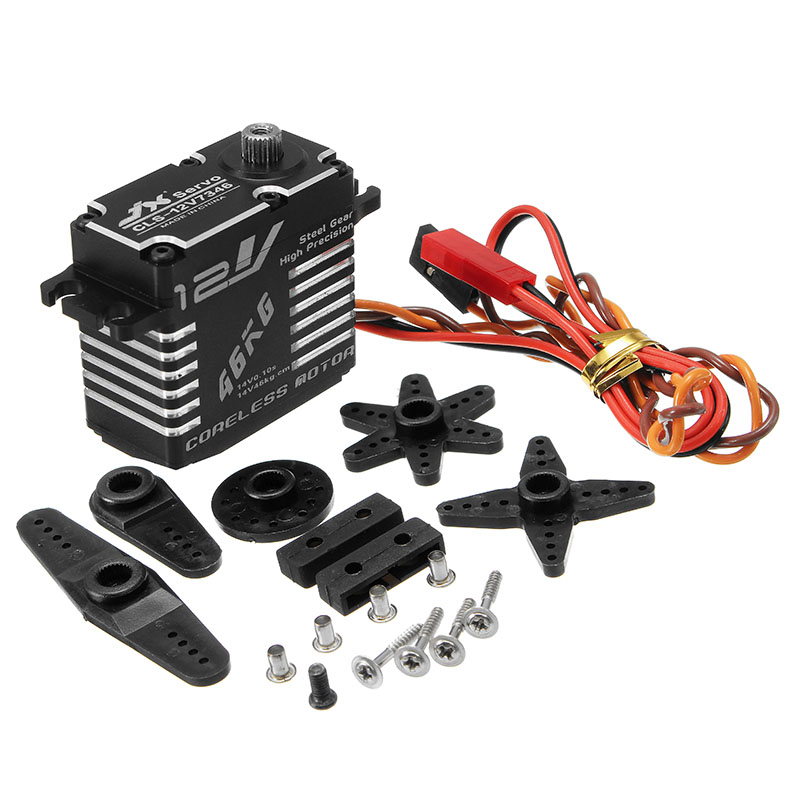 Newest JX CLS-HV7346MG 46KG HV High Precision Steel Gear Digital Coreless Servo Waterproof Servos For RC Helicopter Parts Accs 1pcs jx pdi 6221mg 20kg large torque digital coreless servo for rc car crawler rc boat helicopter rc model