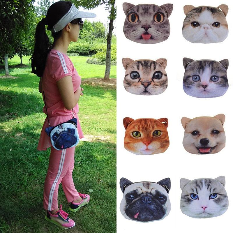 Hot bag 2017 for women fashion 3D print head Maotou animal pattern Handbag Shoulder Bag meow star Satchel animal print off the shoulder sweatshirt