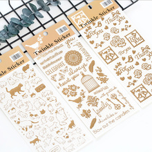 1pcs X Cute Gilt cats PVC paper sticker DIY decoration sticker Diary Scrapbook Decoration Stationery Stickers kawaii my neighbor totoro cartoon 3d stickers diary sticker scrapbook decoration pvc stationery stickers