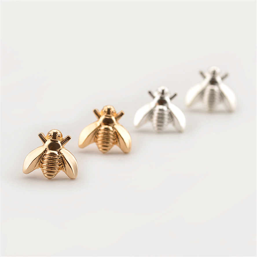 9042d4b71 1Pair Cute Silver/Gold Color Honey Bee Earrings Tiny Fashion Stud Earrings  Insect Fly Bird