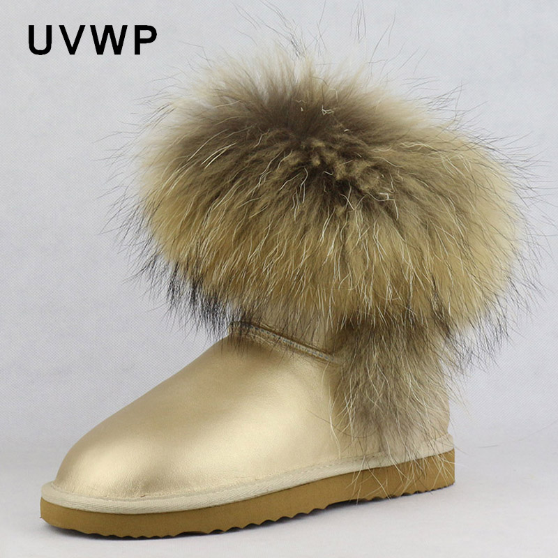 2019 Top Fashion Women's Natural Fox Fur Snow Boots 100% Genuine Cow Leather Winter Boots Female Winter Shoes Women Boots