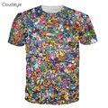 2016 Nuevas Llegadas Nueva marca de ropa de impresión 3d t shirt Fashion galaxy shibe dux de impresión 3d camiseta de manga corta mucho divertido 3d superior